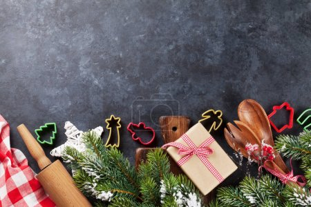 Christmas cooking utensils and tree