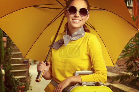 优雅的女人与一个手提箱_高清图片_邑石网