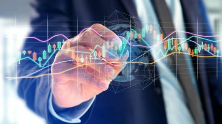 View of a Businessman holding a 3d render Stock exchange trading data information display on a futuristic interface