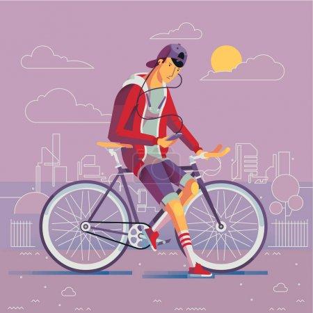 时髦站立由固定的齿轮自行车