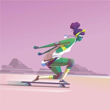 女孩骑着她的长板, 积极的生活方式