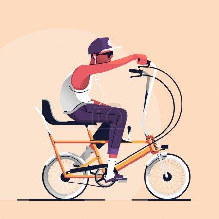 时髦骑一辆旧的学校自行车