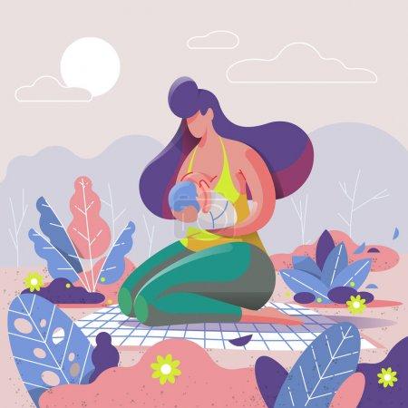 母亲母乳喂养她的孩子在公园, 矢量插图