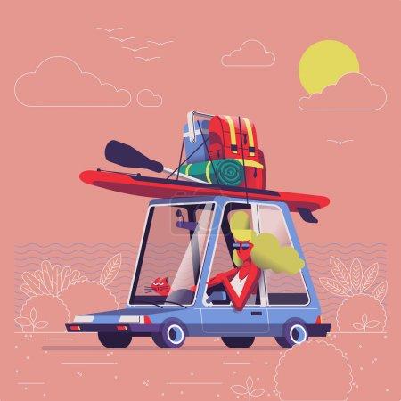 女孩与猫在汽车与冲浪设备在顶部, 向量例证