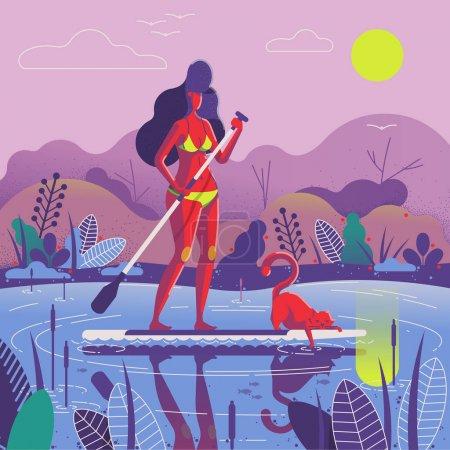 女孩与她的猫桨野猪, 矢量插图