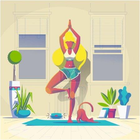 妇女做瑜伽在房间与她的猫, 向量例证