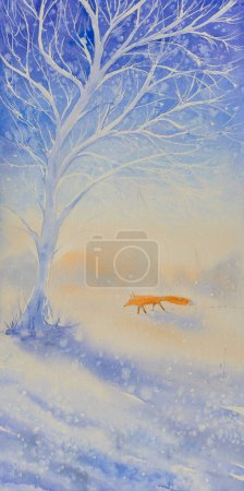 Winter scene with fox,tree and snow covered field and dried grass.Picture created with watercolors.