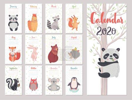 《 2020年动物日历》。可爱的森林人物。矢量说明._高清图片_邑石网