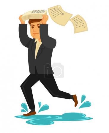 生意人在时髦的西服跑快速通过水坑盖他的头成堆的文件_高清图片_邑石网