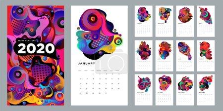 带有抽象主题的新年日历,简单的矢量插图_高清图片_邑石网