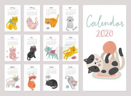 2020年日历。 可爱的月历与猫。 不同心情的手绘人物._高清图片_邑石网