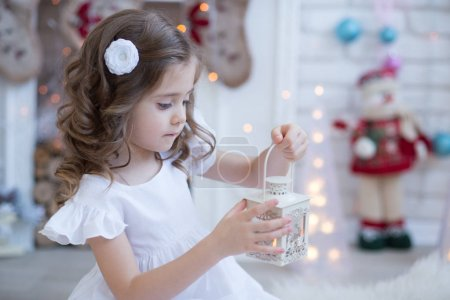 girl with Christmas Candle Lamp