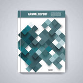小册子、 杂志封面、 传单设计与蓝色菱形背景