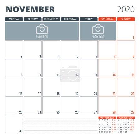 2020年日历计划。 文具设计模板。 周从星期一开始。 矢量说明_高清图片_邑石网