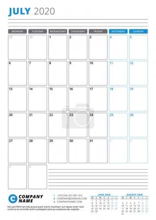 2020年7月的日历模板。业务计划员。 文具的设计。 周从星期一开始。 肖像定位。 矢量说明_高清图片_邑石网
