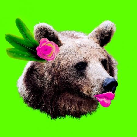 熊小姐。当代艺术拼贴最小的设计