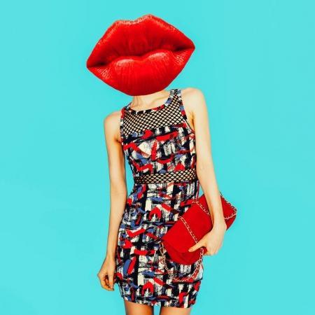 当代艺术拼贴画。简约设计时尚理念红唇