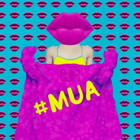 Contemporary art collage. Concept  MUA Fashion Funny Lips Girl