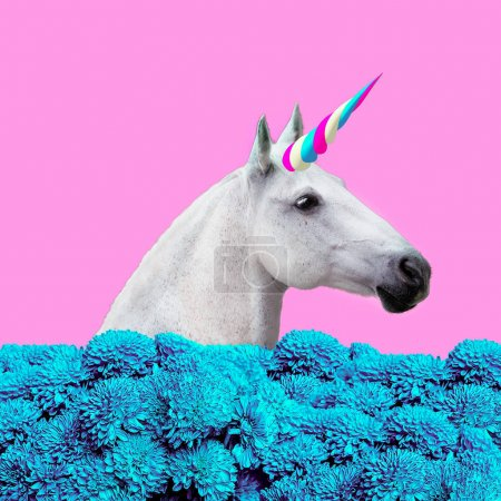 当代艺术拼贴画。概念我的独角兽生活。白色独角兽