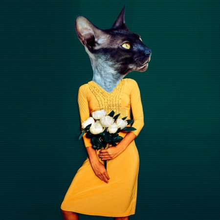 Contemporary art collage. Fun art. Stylish  Lady Cat in vintage