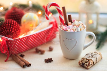 Cup of chocolate with marshmallow