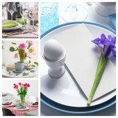 收集不同的餐桌设置复活节晚餐