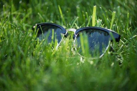 关闭绿色草坪上的时尚太阳镜视图_高清图片_邑石网