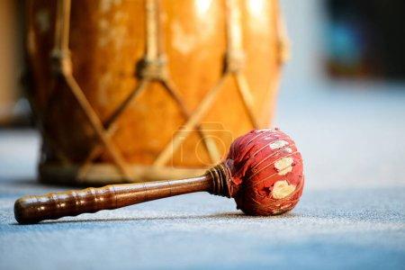 印尼古代民间乐器。特写照片