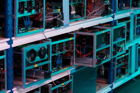 shelves with graphic cards at ethereum mining farm