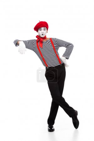 mime pretending leaning on something isolated on white