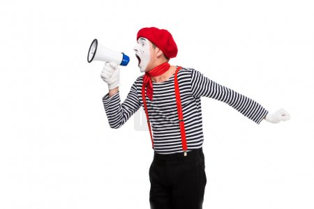 mime shouting in megaphone isolated on white