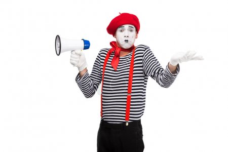 confused mime holding loudspeaker and showing shrug gesture isolated on white