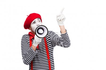 mime speaking in megaphone and pointing up isolated on white