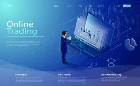 国内证券交易所在线交易采用笔记本电脑、商人、平板电脑、矢量等量合成. 数字货币市场、投资、金融交易. 等量概念股票交易所和交易者_高清图片_邑石网