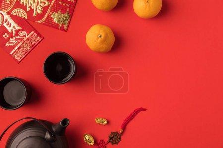 oriental decorations and tea set