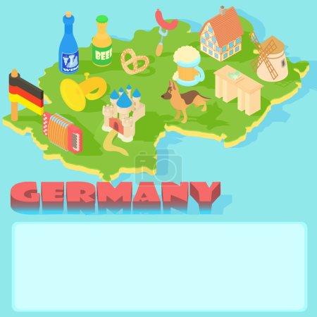 德国地图,卡通风格