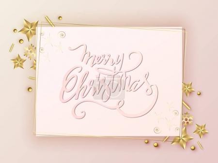 快乐圣诞文本设计。矢量标志,排版。可用作横幅、 贺卡、 礼品包装等