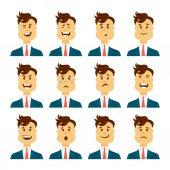 一組男性面部感情。有胡子的人表情符號字符不同的表情。卡通風格的矢量圖