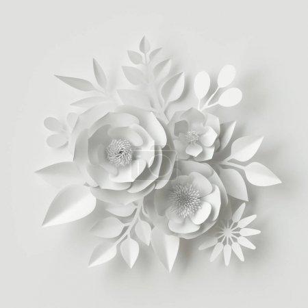 3d 渲染,数码插画,白色纸花, 花卉背景,婚礼卡