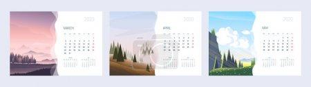 附有自然图解的2020年日历。 春天的三个月。 A4纸张尺寸格式._高清图片_邑石网