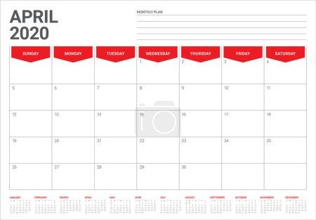 2020 年 4 月桌面日历矢量插图_高清图片_邑石网