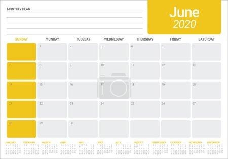 2020 年 6 月桌面日历矢量插图_高清图片_邑石网