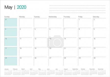 2020 年 5 月桌面日历矢量插图_高清图片_邑石网