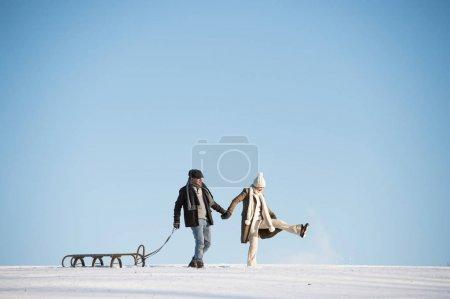 美丽的高级夫妇步行拉雪橇,冬季的一天._高清图片_邑石网