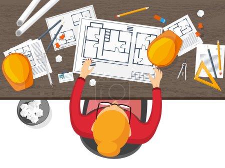 矢量图。工程和建筑。绘图、 施工。建筑项目。设计素描。工作区的工具。规划、 建筑