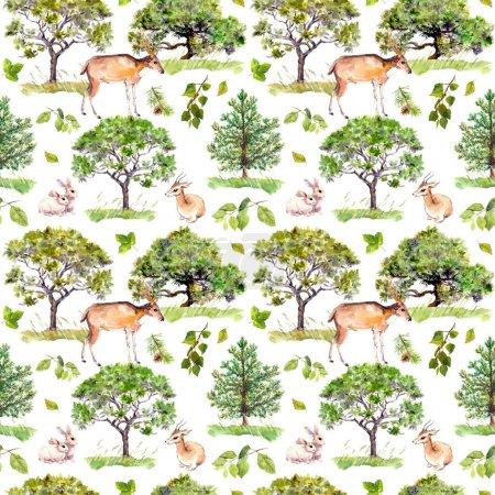 绿树。公园,森林格局与森林动物-鹿、 兔、 羚羊。无缝背景。水彩图案_高清图片_邑石网