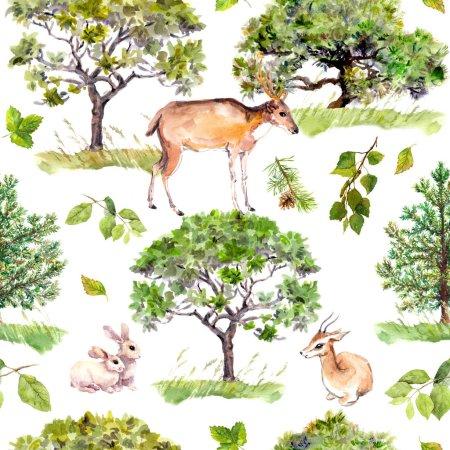 绿树。公园,森林格局与森林动物-鹿、 兔、 羚羊。无缝的重复背景。水彩_高清图片_邑石网