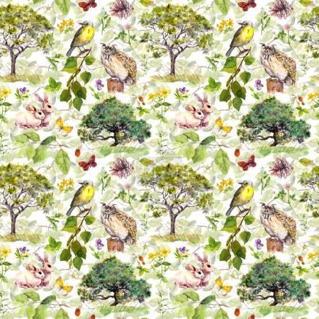 环境︰ 鸟、 兔子、 树、 叶、 花和草。重复模式。水彩_高清图片_邑石网