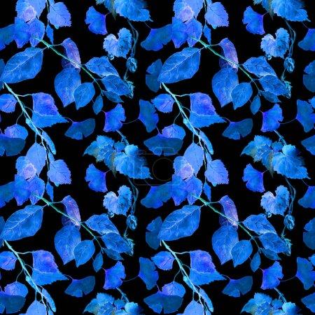 霓虹发光树叶。晚上神秘的无缝模式。水彩_高清图片_邑石网