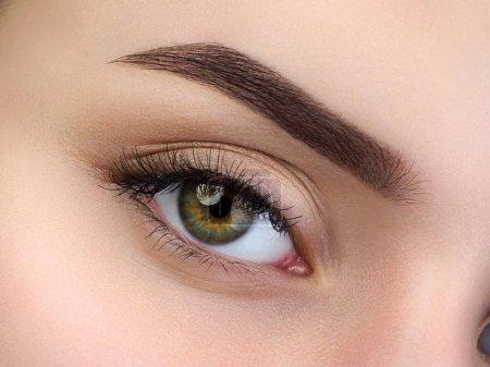美丽女性的棕色眼睛近视图_高清图片_邑石网